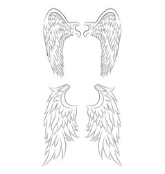 set of different contour drawing of an angel wings vector image vector image