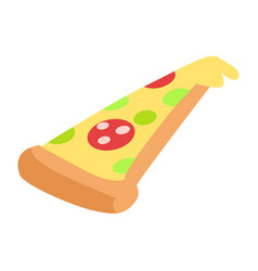 slice of hand drawn appetizing pepperoni pizza vector image