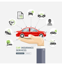 Car insurance services Business hands holding car vector image vector image