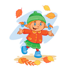 icon of small child throws up the fallen vector image vector image