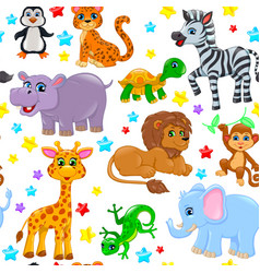 seamless pattern animals and stars vector image
