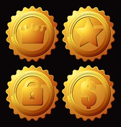 set of gold medallion vector image vector image