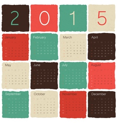 calendar 2015 tile colorful vector image