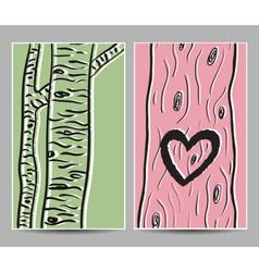 Card birch heart tree vector