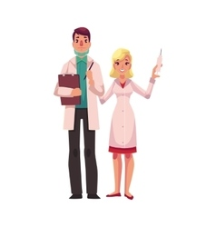 Doctor holding clipboard plus anesthetist with vector image vector image