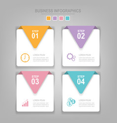 infographics template of four steps on squares vector image vector image