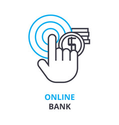 online bank concept outline icon linear sign vector image