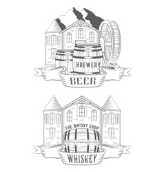 Set Beer House and Whiskey Shop vector image vector image