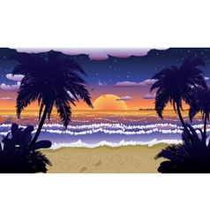 Sunset on beach with palms2 vector image