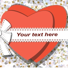 Two red hearts tied by ribbon with bow vector image