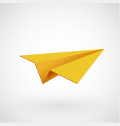 yellow paper airplane illsutration vector image vector image
