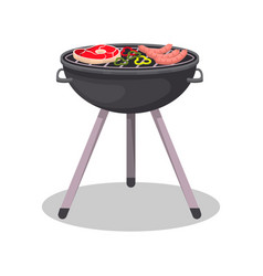 barbecue grill with grilled meat steak icon vector image