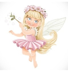 Cute little spring fairy girl in a pink tutu with vector image