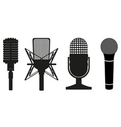microphone black silhouette vector image