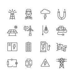Outline Electricity Icons vector image vector image