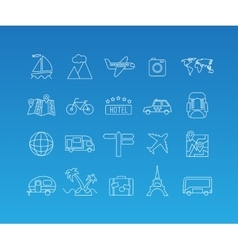 Travel mono line icon set vector