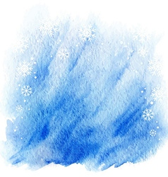 winter watercolor background light blue sky with vector image