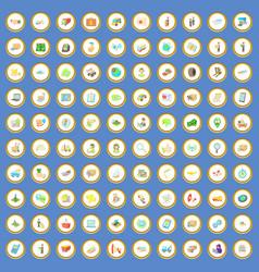 100 logistic icons set cartoon vector image