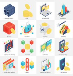 3d isometric cryptocurrency mining vector