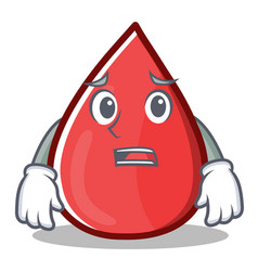 Afraid blood drop cartoon mascot character vector