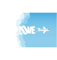 aircraft in the cloud love vector image
