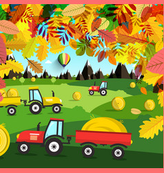 autumn landscape tractors on field harvest time vector image