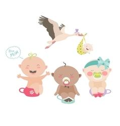 Babies are sitting on a chamber pots vector