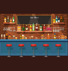 bar counter pub or nightclub interior with table vector image