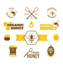 Bee honey label colored vector
