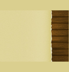 blank sheet of paper with torn edges on a wooden vector image