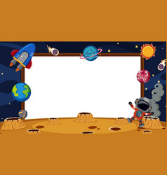 Border template with astronaut and planets vector