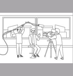 Broadcasting reportage design vector