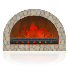 Burning fire in the fireplace vector