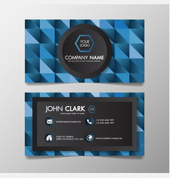 business card modern blue and black template vector image