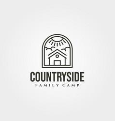 cabin house line icon logo symbol design minimal vector image