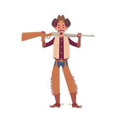 cartoon cowboy holding rifle gun isolated on white vector image