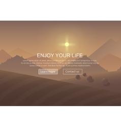 Cartoon sunrise Mountain Landscape Background with vector