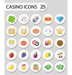 Casino icons stickers flat style Gambling set vector image
