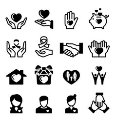 Charity donation giving sharing icon vector