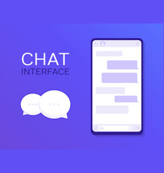 Chat interface application with dialogue window vector