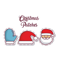Christmas patches design vector