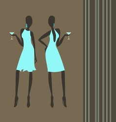 Cocktail girls vector