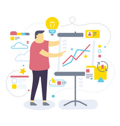 color of standing business man with stand and vector image