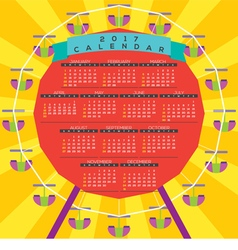 Colorful Ferris Wheel 2017 Printable Calendar vector image