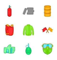Competition paintball icons set cartoon style vector image