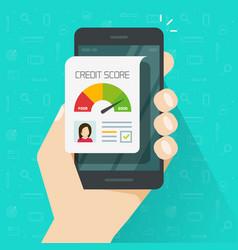Credit score online report document on smartphone vector