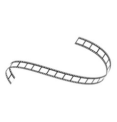 curved film strip movie tape black white vector image