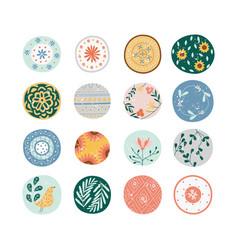 Cute decorative floral prints collection vector