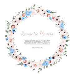 cute wreath with leaves and flowers vector image