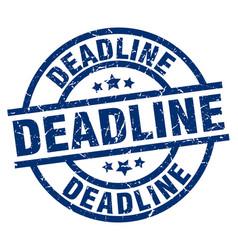 Deadline blue round grunge stamp vector